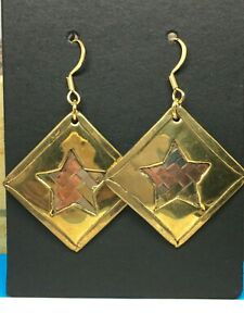 Vintage Handcrafted Rhombus Shape Copper,Brass Unique Drop earrings (New unworn)