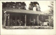Log Cabin Porch - Bayville ME Cameo Imprinted in Corner Real Photo Postcard
