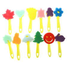 F7 12 Pcs Colorful Different Shapes Children Painting Craft Sponge Stamp F6