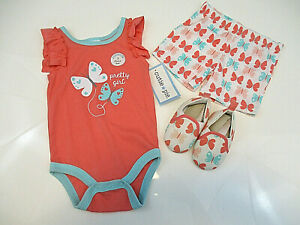 CUTIE PIE 3 pc Outfit Girls 3-6 mos One-piece Top Shorts Shoes Butterfles NWT
