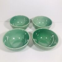 Tabletops Gallery Westwood Handcrafted Cereal Soup Bowls Green Set of 4 RARE