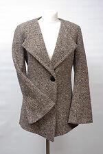 P714/41 M&S Autograph Woolen Elegante Asimmetrico Giacca Senza Collo, UK 10