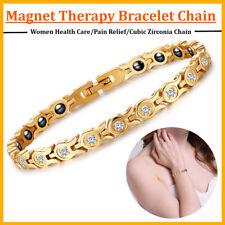 Women Health Magnet Therapy Bracelet Energy Zirconia Chain Arthritis Relief Gift