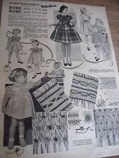 """(428)ANCIEN PATRON """"VOTRE MODE   6 MODELES ROBE A SMOCKS OU CHIC   1955"""