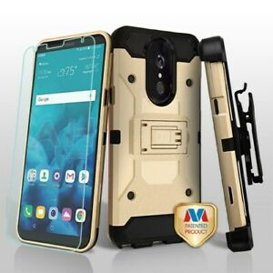 For LG Stylo 4 - Gold/Black Kinetic Case With Holster Tempered Glass