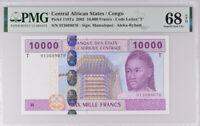 Central African States Congo 10000 FR. 2002 P 110Ta Superb Gem UNC PMG 68 EPQ
