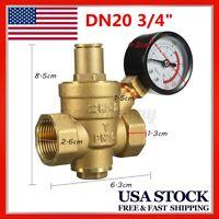 DN20 3/4'' Brass Water Pressure Reducer Reducing Regulator Valve Gauge PN1.6 *US