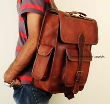 Unisex Handmade Genuine Durable Leather Backpack Crossbody Brown Large Bag