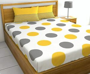 A Quality Linen 144 TC 100% Cotton Polka Dot Double Bedsheet with 2 Pillow Cover