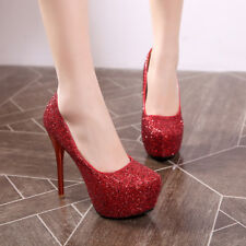 Womens Stiletto High Heel Shiny Platform Pumps Party Shoes AU Plus Size 2-9