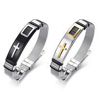 2pcs Unisex Bible Cross Stainless Steel Mesh Bracelet Prayer Religious Bangle