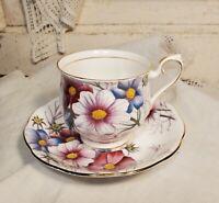 Vintage Bone China Tea Cup & Saucer Set - Royal Albert 'Cosmos'