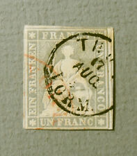 Switzerland 1854 Helvetia One Franc Postage Stamp Key to Series
