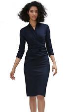 Women Wrap V Neck Casual Office Career Bodycon Midi Sheath Dress Navy or Black