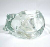 Candle Holder Curled Cat Kitten Glass Clear Votive Indiana Glass Made in USA