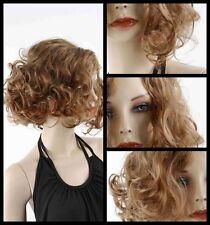 Cute Women's Heat Resistant Hair Wigs Short Brown Blonde Curly Wave wig+Cap