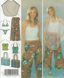 NEW Simplicity 4598 Two Pc Bikini Mesh Poncho Pants Halter Top Bag Pattern 6-12