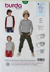Burda 9346 Super Easy Boys T-Shirts Shirt Camisa Sewing Pattern Sz 6-13