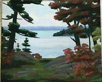 Oaks Windermere Lake Rousseau Original Oil Painting by Cdn Artist Fraser Thomson
