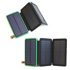 External Battery 300000mAh Charger 3 Solar Panel Powerbank Akku 2USB LED Outdoor