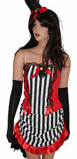 Ladies Sexy Burlesque Showgirl 5 Piece Costume Top Skirt Hat and Gloves Size 10