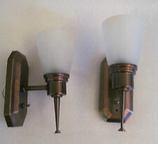 2 RV 12 Volt Oil Rub Bronze Wall Light Lamp  Alabaster Glass Shade Antique Style