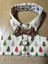 Hand Made Christmas Gold Bow Dog Harness Vest Size XS - 2390
