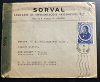 1945 Lisbon Portugal Censored Commercial Cover To New Jersey Usa