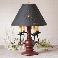 COLONIAL TABLE LAMP & PUNCHED TIN SHADE - Country Red with 3 Light Options USA