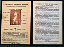 Memento du Prince Impérial Napoléon IV Avec prière 140e Anniversaire Souvenir *