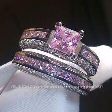 2pcs/set Women Wedding Jewelry 925 Silver Pink Sapphire Engagement Ring Sz6
