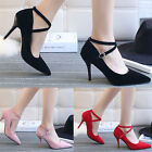 Women's Ladies High Heeled Pointed-toe Stiletto Sandals Shoes Pumps Ankle Straps