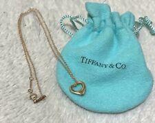 TIFFANY & Co 18K Yellow Gold 10mm Elsa Peretti Open Heart Necklace Pendant w/BOX