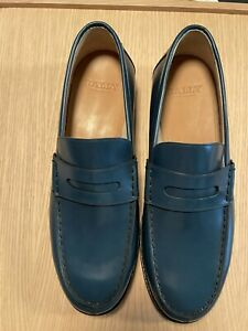 BALLY FROM SWITZERLAND MOD PERRY  BLUE LEATHER AND GOODYEAR SOLE - NEW WITH BOX