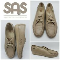 SAS Womens Leather Loafers Size 10 S SLIM Lace Up Comfort Walking Shoes Taupe