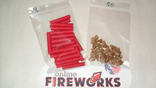 25 Red 1/4 x 2 x 1/16 inch Paper Fireworks Tubes + 50 Free Plugs + Free Shipping