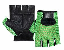 MESH LEATHER GYM GLOVES WEIGHT TRAINING POWER LIFTING CYCLING SPORTS WHEELCHAIR