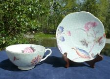 WEDGWOOD CUCKOO GREEN CUP & SAUCER EARLY 19TH CENTURY REPRODUCTION MINT SHAPE
