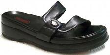 New HARLEY DAVIDSON Women Leather Black Wedge Heel Sandal Slide Shoe Sz 8.5 M