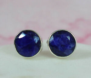 925 SOLID STERLING SILVER FACETED BLUE SAPPHIRE STUD EARRING-9 MM B866