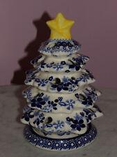 Polish Pottery Christmas Tree Tea Light! UNIKAT Signature Rembrandt in Blue!