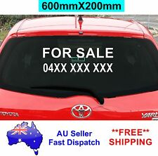 FOR SALE Sticker with your Phone Number 600mm CAR Window Decal Vinyl Sign