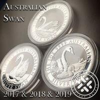 2017 & 2018 & 2019 Silver Swan 1 oz 9999 Silver Coin - Perth Mint Capsule