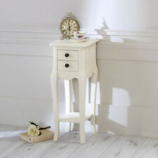 Ivory bedside small chateau side table 2 drawers ornate slim french vintage chic