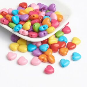 100+ Opaque Acrylic Pastel Color Mix Heart Beads Charm Jewelry Crafts 9x10mm USA