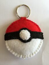 Handmade Pokemon Pokeball Felt Keyring in Red And White With A Black Band Anime