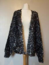 River Island Metallic Tinsel Knit Cardigan Size 14/16 Uk BNWT RRP £53.99 Black