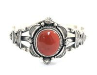 Native American Sterling Silver Navajo  Natural Coral Old Look Cuff Bracelet