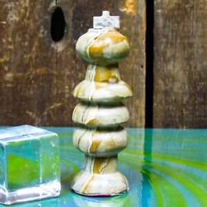 """Classic Replacement Chess Piece King Hand Carved Stone Mexico 12"""" Cross"""