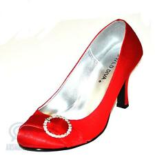 Sexy Ladies Shoes Size 5.5 Red Satin O Ring Diamente Formal Party Low Heels